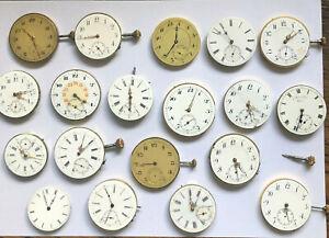 19 Werke von Taschenuhren um 1920 - 10 Werke laufen an - diverse Hersteller