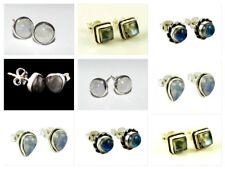 925 Sterling Silver Labradorite Earstud Earrings Heart Square Round Shape