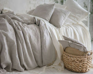 Pure Washed Linen Duvet cover King French Bed Flax Linen Bedding Quilt Covers