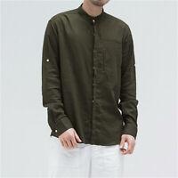 Men Long Sleeve Grandad Shirt Linen Cotton Mandarin Collar Top Tang Suit Classic