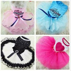 Pet Dog Cat Puppy Tutu Princess Dress Heart Printed Lace Skirt Clothes Pet Dress