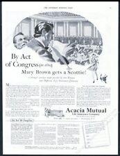 1942 Scottie dog Scottish Terrier girl art Acacia Mutual Life Insurance print ad