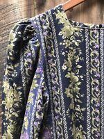 Vintage Laura Ashley 90s Long Corduroy Dress Prairie Boho Maxi Floral 80s 10 14