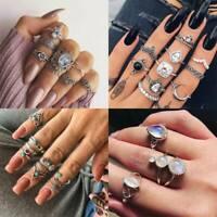 Vintage Boho Silver Set Arrow Moon Flower Midi Finger Knuckle Rings Jewelry Gift