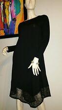 Eileen Fisher Black Asymmetric Lace Sheer Hem Viscose Jersey Ballet Neck Dress