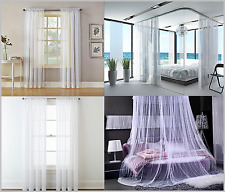 "2 Large White Lace Panels each 110""x98"" (280cmX250cm) for Windows / Beds Curtain"