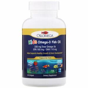 Oslomega, Norwegian Kids Omega-3 Fish Oil, 165 mg EPA, 110 mg DHA, Strawberry Fl