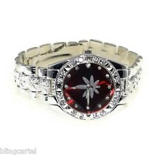 420 Hip Hop Watch Marijuana Pot Weed Red Leaf Iced-Out Silver Tone Mens Bling