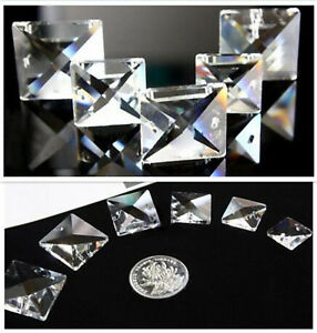 30/50/100Pcs K9 Crystal Square Crystal Chandelier Parts Prism 2 Holes