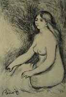 Sensual impressionist study Bather, original charcoal drawing, Renoir, Signed