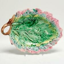ANTIQUE ETRUSCAN MAJOLICA LEAF DISH, GRIFFIN SMITH HILL, SIGNED