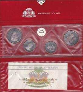1973 Haiti Four Coin Silver Proof Set Original Packaging Rainbow Toning