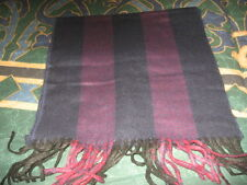 Vintage Christian Dior Men's Muted Blue and Red Scarf with Fringe
