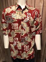 Reyn Spooner OU OKLAHOMA UNIVERSITY Boomer SOONERS Hawaiian Shirt Size Large