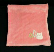 """Cloud Island Coral Pink Owl Baby Blanket Pine Trees 30X28"""" Plush Security Lovey"""