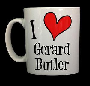 NEW I LOVE HEART GERARD BUTLER GIFT CUP MUG PRESENT FAN