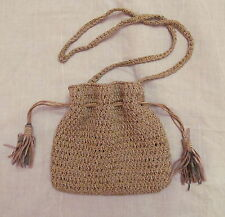 vintage SHARIF mteallic gold woven drawstring victorian look cross body bag