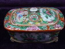Antique Chinese export porcelain rose medallion soap box