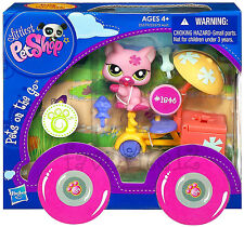Littlest Pet Shop Pink Kitty Cat #1846 Tricycle Ice Cream Set LPS Pets on the Go