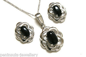 9ct White Gold Black Onyx Pendant Celtic Necklace and Earring Set Made in UK