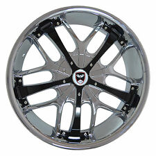 4 GWG Wheels 24 inch Chrome with Black Inserts SAVANTI Rims 5x108 ET20 CB78.1