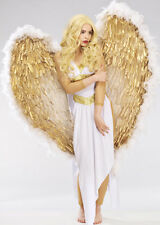 Deluxe Extra Large White and Gold Feather Angel Wings