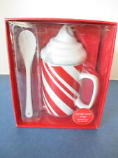 CANDY CANE PORCELAIN MUG WITH SPOON & WHIPPED CREAM LID, FOR HOT CHOCOLATE, NIB