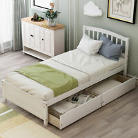 Twin Size Bed Frame with Storage Drawers Matress Foundation Platform Wood Slats