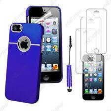 Housse Coque Silver-Line chromé Bleu Apple iPhone SE 5S 5+Mini Stylet+3 Films