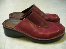 Naot Mule Clogs Shoes Size 37 6-6.5 Burgundy Red Leather Chunky Heel VGUC