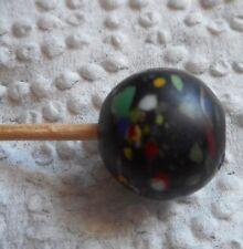 Antique Venetian Lamp work Black Italian Glass Bead with COLOR spots RARE