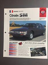 "1970 - 1975 Citroën SM  IMP ""Hot Cars"" Spec Sheet Folder Brochure Awesome #5-13"