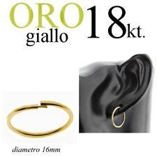 mono orecchino uomo ORO GIALLO 18kt. cerchio invisibile anello lobo mm.16 GOLD