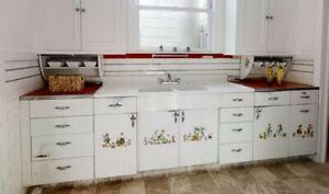 Vintage steel under mount kitchen cabinet w/rolling door 1940s Original Artwork!