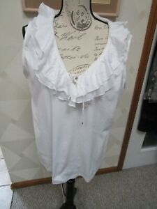 CHAPS-WHITE-RUFFLED LACE-UP NECK-SLEEVELESS TOP-SIZE-XL-NWT-$40