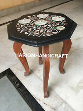 """12"""" Black Marble Table Top Wooden Stand Mother Of Pearl Marquetry Inlay E553(1)"""