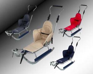 Sport Schlitten mit Lehne,Sitzauflage,Stange,Verschiedene Farbvarianten , NEU