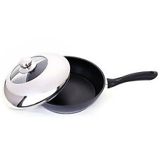 "Non-Stick Deep Frying Pan 11"" Fry Saute Skillet Jumbo Cooker Stainless Steel Lid"