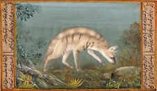 Striped Hyena Miniature Art Handmade Indian Animal Watercolor Wild Life Painting