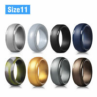 8 Pcs LOT Men Women Silicone Wedding Engagement Ring Rubber Band Flexible Sports