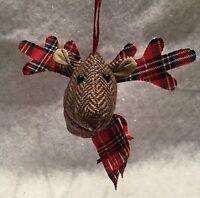Herringbone Reindeer Head Christmas hanging decoration Tree Tartan Fabric Stag