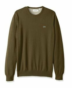 New Men's Lacoste Crew Neck Jumper Olive Green Size XL / FR 6