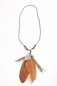 Gorgeous Tribal Style Thin Brown Necklace with Chains & Feathers Pendants (S491)