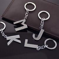 Alphabet Keyring Initial Letter Unisex Rhinestone Inlaid Keychain Gift New