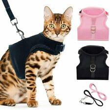 Escape Proof Cat Harness Set with Leashes-Black & Pink-Soft Mesh-Adjustable-NEW