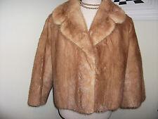 Vintage cintura corta longitud real abrigo chaqueta de piel de visón de Manga 3/4 1950-60s S/M