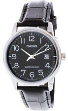 Casio Men's Quartz Stainless Steel/Black Leather Watch MTPV002L-1B