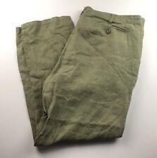 (Used) Mens David Jones Casual Long Pants 100% Linen Green W:40