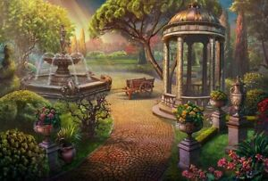 Home Art Wall Decor Garden Gazebo Fountain Oil Painting Printed On Canvas