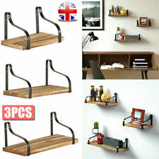 Set of 3 Rustic Floating Shelves Wood Wall Mounted Shelf Metal Display Rack Home